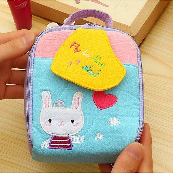 《J 精選》可愛卡通拼布衛生棉包/化妝包