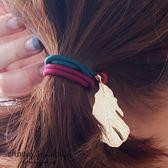 金屬羽毛吊飾髮束 【櫻桃飾品】【10553 】