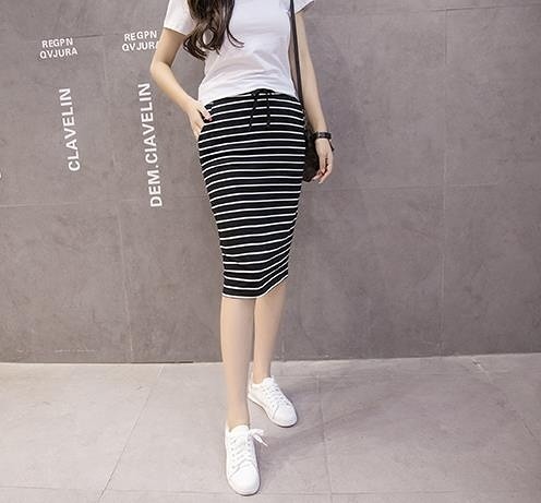 半身裙     黑白條紋休閒口袋中長包臀鉛筆一步半身裙子
