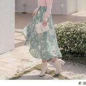 《CA1714》細緻花卉印花後鬆緊腰頭百褶長裙 OrangeBear