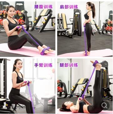 仰臥起坐運動工具女減腰肚子瑜伽健身宿舍家用彈力繩腳蹬拉力器 小明同學