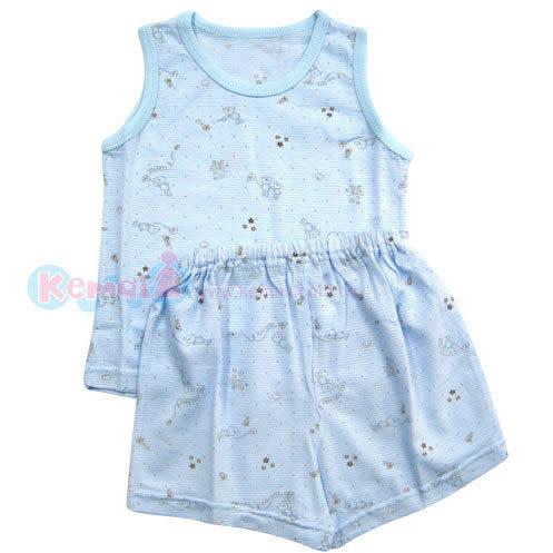 【奇買親子購物網】KUKI BIRD 可愛熊印花背心套裝(藍)