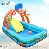 泳池多功能兒童戲水池游帶充氣滑梯充氣城堡籃球架戲水池 igo 蘿莉小腳ㄚ