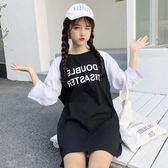 2018新品中長版七分袖t恤女日韓潮學生寬鬆拼色原宿bf風短袖上衣