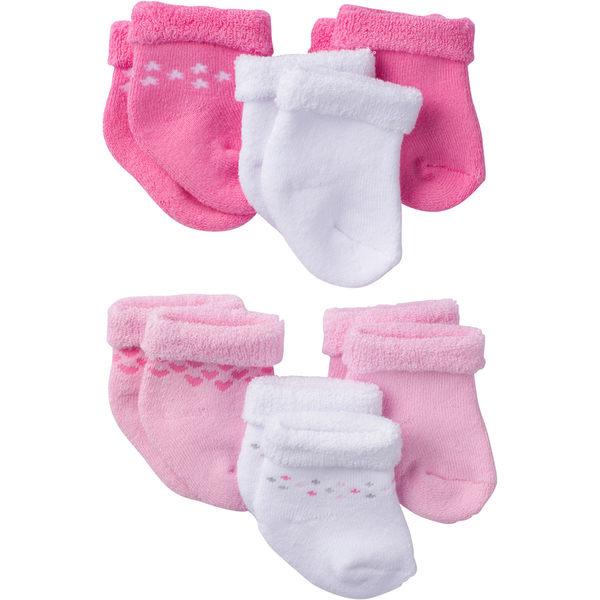 嬰兒襪 Gerber Childrenswear 嬰兒襪 / 襪子 超值6件組 - 桃粉滾邊愛心 5309-2038 / 5309-2039