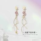 靜風格S925銀針耳釘女個性草莓晶海藍寶耳飾高級感不對稱流蘇耳環 歐韓時代