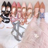 夏甜美綁帶穆勒半拖鞋中跟絲帶百搭涼鞋尖頭粗跟單鞋女