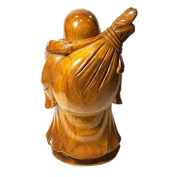 彌勒佛(檜木)高21公分【十方佛教文物】