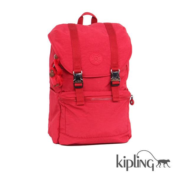 Kipling 櫻桃紅素面後背包-大