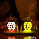 520小禮物情人幸福鳥籠燈可充電USB小夜燈 床頭氛圍觸碰調光感應 流行花園