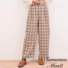 ■Samansa Mos2■  格紋寬褲帶有復古氛圍 寬鬆柔軟的剪裁 舒適度佳 打造休閒優雅風格