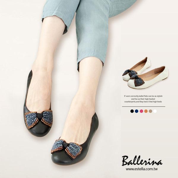 Ballerina-全真皮串珠蝴蝶結娃娃鞋