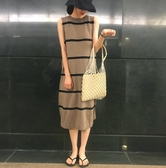 無袖洋裝  復古慵懶風長款顯瘦針織條紋背心裙無袖連身裙