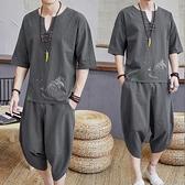 夏季亞麻套裝中國風男裝刺繡復古棉麻短袖T恤休閒寬鬆潮流唐裝男 陽光好物