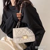 高級感菱格鏈條白色包包女2021新款潮百搭洋氣網紅小眾單肩斜背包側背包