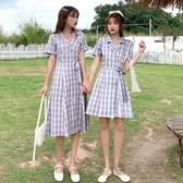 夏季2020新款韓版收腰顯瘦閨蜜裝中長款西裝領格子短袖連身裙女潮