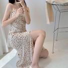 洋裝 2021年春夏新款吊帶裙碎花連衣裙女中長款裙子高腰長裙女【618特惠】