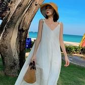 露背洋裝 三亞旅行穿搭辣妹海邊度假吊帶連身裙沙灘露背初戀白色背帶裙女夏 寶貝