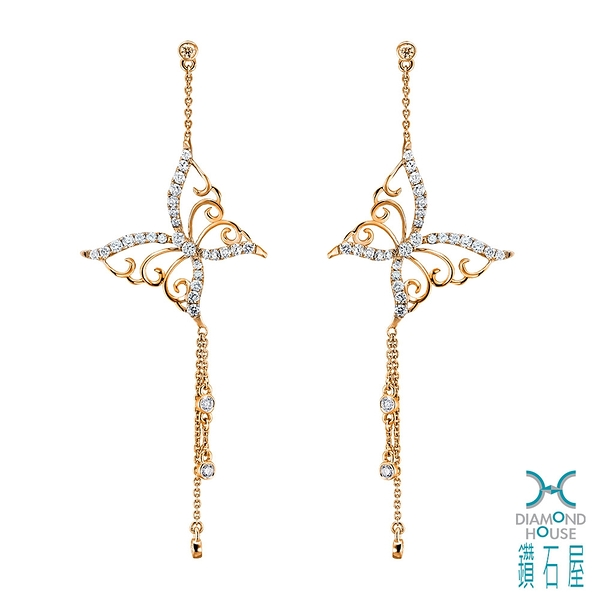 【鑽石屋】玫瑰金蝴蝶鑲鑽耳環