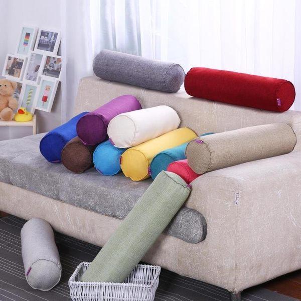 棉麻長條抱枕大號圓柱形床上睡覺腰靠墊抱枕可拆洗糖果枕頭含枕芯WY【八五折免運直出】