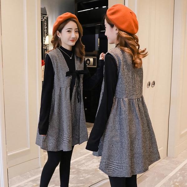 孕婦裝冬裝新款秋裝時尚款潮媽秋冬季連衣裙套裝上衣裙子
