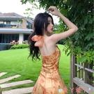露背洋裝法式復古掛脖歐根紗中長款露背油畫連身裙氣質碎花仙女度假吊帶裙 愛丫 免運