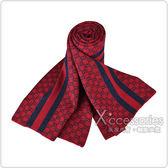 GUCCI經典GG緹花LOGO條紋設計羊毛圍巾(深紅)