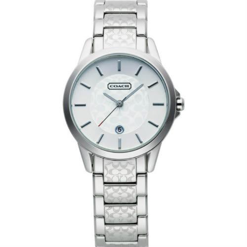 COACH銀色日期視窗壓紋鋼帶女錶(14501398)
