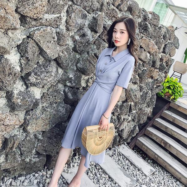 VK旗艦店 韓系時尚素色高腰襯衫顯瘦收腰短袖洋裝