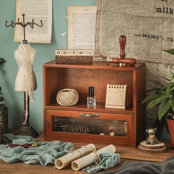 【BlueCat】雙層單抽屜 復古仿舊收納實木櫃 木架 木盒 收納櫃 置物架 展示架 櫃子