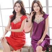 韓國短袖冰絲睡裙女天性感睡衣紅色仿真絲質女款蕾絲睡裙【尾牙交換禮物】