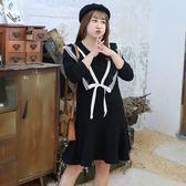 中大尺碼~V字加絨飾長袖連衣裙(XL~4XL)