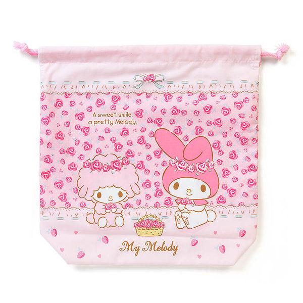 Sanrio 美樂蒂日本製布面附底縮口袋L(玫瑰花園)★funbox生活用品★ 056944N