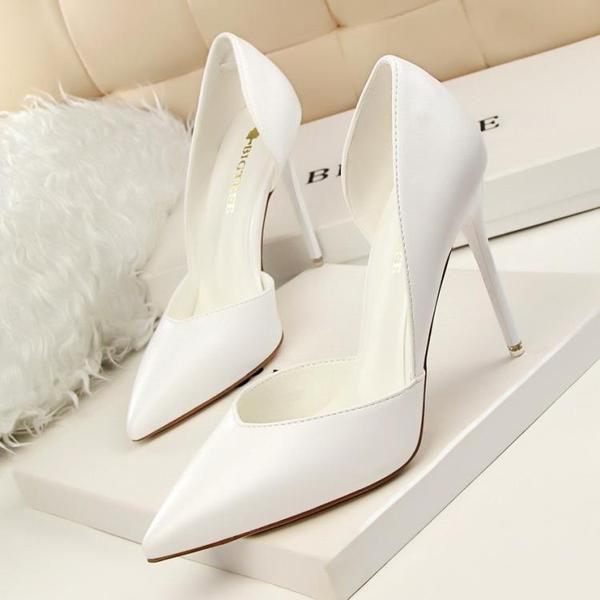 快速出貨 夏季 甜美糖果色尖頭高跟鞋細跟白色百搭側空 涼鞋黃色淺口女鞋