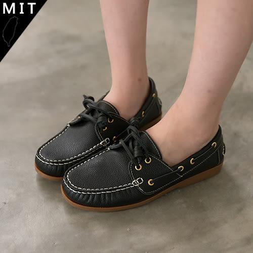 女款 嚴選MIT製造全真皮手工 帆船鞋 平底鞋 休閒鞋 黑色 59鞋廊