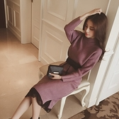 洋裝-針織時尚氣質腰帶收腰女連身裙2色73hd43【時尚巴黎】