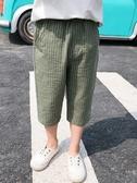 男童褲子夏薄款2019新款女童條紋休閒運動沙灘褲兒童七分外穿短褲