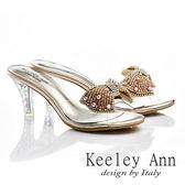 ★零碼出清★ Keeley Ann 風華閃爍~蝴蝶鑽珠透明細跟涼鞋(金色)