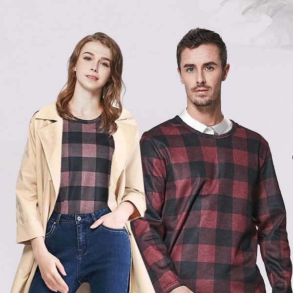 MIT時尚休閒 男女 經典 格紋 舒適 內刷毛 長袖上衣 機能 保暖 雙色