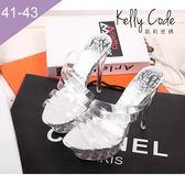 大尺碼女鞋-凱莉密碼-灰姑娘玻璃鞋超閃水晶超高跟拖鞋15cm(41-43)【ME2460】銀色