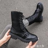 馬丁靴女英倫風新款短靴韓版百搭皮靴短筒學生女靴春秋款單靴 現貨清倉1-16