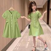 女童牛油果綠連身裙夏裝2020新款兒童裝超洋氣網紅夏季短袖洋裝 EY11795 【MG大尺碼】