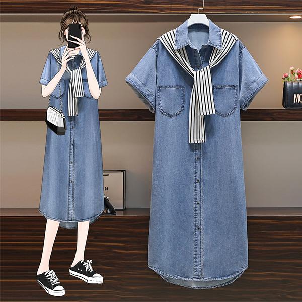 VK旗艦店 韓系方領配披肩牛仔大碼寬鬆套裝短袖裙裝