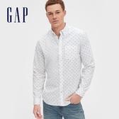 Gap男裝棉質角扣翻領長袖襯衫548308-白底藍色印花