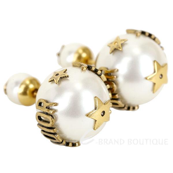 DIOR J'ADIOR「Dior Tribales」小款鍍金復古金屬白色圓珠針式耳環 1840358-20