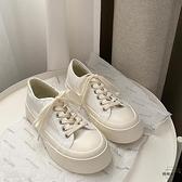 厚底帆布鞋女可愛日系風大頭低幫鞋潮復古圓頭小白鞋【時尚大衣櫥】