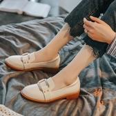 英倫小皮鞋樂福鞋單鞋一腳蹬豆豆鞋【橘社小鎮】