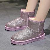 短靴新品保暖短筒雪地靴女短靴亮片平底女厚底保暖棉靴子防滑面包鞋