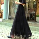新款 黑色 網紗半身裙 中長版女甜美 高...