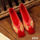 新娘鞋 大尺碼手工繡花婚鞋紅色秀禾鞋子千層底中式平底跟布鞋女OB2232『美好時光』